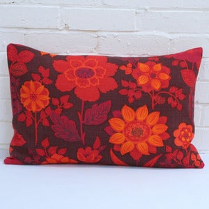 Image of Large Rectangular Cushion in Vintage Orange Floral
