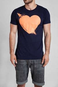 Image of Breaking Hearts T-Shirt Navy/Salmon