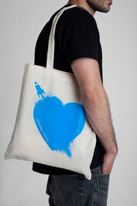 Image of Breaking Hearts Aqua Tote Bag