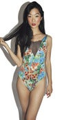 Image of Contemporary Floral Print Mesh Bodysuit