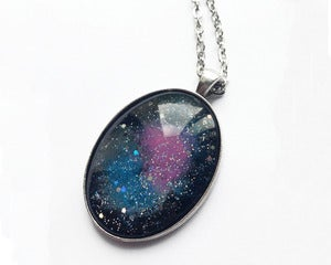 Image of Hand Painted Space Nebula Necklace (Pink/Blue)