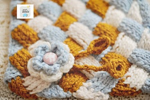 Image of Entralac Blanket with Removable Flower