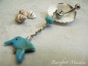 Image of Happy Hummingbird Belly Ring | Turquoise Hummingbird, Faceted Stone, Sterling Accents