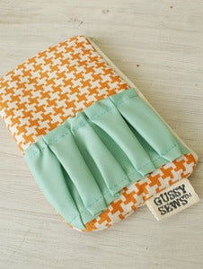 Image of Orange Houndstooth medium zip pouch