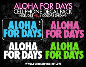 Image of Aloha For Days Cell Phone Decal Pack - 4 Decals Total