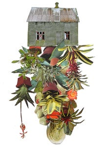 "Image of Print of an Original hand threaded art work:""Room cactus"""