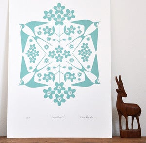 Image of Swallow Print - A Hand Pulled, Signed, Gocco Print.
