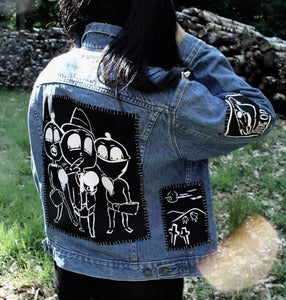 Image of Stitched up! Mid blue 'Smoking jacket' denim jacket (Medium)