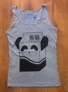 Image of Girls Panda Milk Vest - black on grey