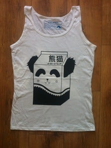 Image of Girls Panda Milk Vest - black on white