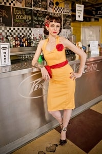 Image of Yellow Fitted Dress