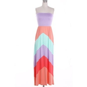 Image of Pastel Chevron Maxi Tube Dress
