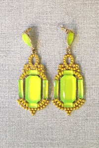 Image of art deco lime gems earrings by Allen&Code