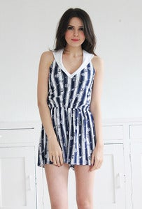 Image of Navy Anchor Print Jersey Playsuit