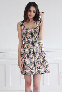 Image of Ashley Floral Zipped Sun Dress