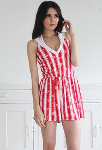 Image of Red Anchor Print Jersey Playsuit