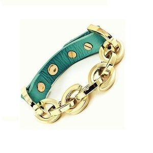 Image of Turquoise Leather and Gold Chain Bracelet
