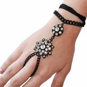 Image of Black Floral Crystal Hand Chain Bracelet