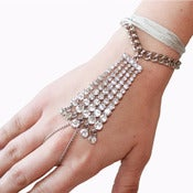 Image of Crystal Embellished Hand Chain Bracelet