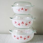 View set of three 1960s Sputnik Phoenix casserole dishes