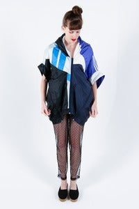 Image of Andrea Crews Upcycled Unisex Tracksuit Jacket in Blues and Black