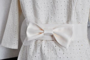 Image of Ivory Bow Sash - For Wedding, Brides and Bridal Parties - Made to Order