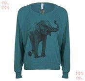 Image of Elephant Tri-Evergreen Batwing Pullover (Girls)