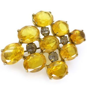 Image of Vintage Art Deco Faceted Amber Yellow Glass Paste Layered Pin Brooch