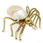 Vintage Large Art Deco Shell Gold Metal Twist Spider Insect Pin Brooch