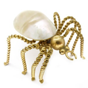 Image of Vintage Large Art Deco Shell Gold Metal Twist Spider Insect Pin Brooch