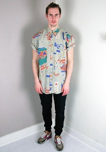 Image of Vintage Patterned Biege Summer Silk Shirt