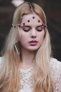 Image of Chain Head Piece Chain Headdress Triple Stranded Valentine's Day Romantic Love Red Swarovski