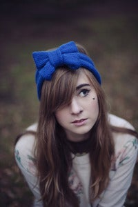 Image of Knitted Bow Headband Oversized Bow Cute Cosy Kawaii Lolita Ear Warmer in Royal Blue