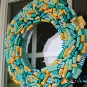 Image of Turquoise and Yellow Summer Wreath