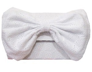 Image of White Broderie Anglaise Bow Clutch Bag