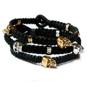 Image of leather trousers 'Nice Stack' set of 3 Bracelets