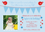 Image of Patriotic Birdie Invitation