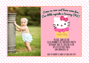 Image of Hello Kitty Cupcake Invitation