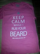 "Image of PINK ""KEEP CALM WHILE I RUB YOUR BEARD"" TSHIRT WHITE PRINT GREY STAR"