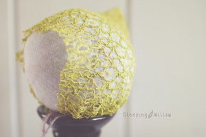 Image of Stretch Lace Knit Pixie Bonnet {Chartreuse Mustard}