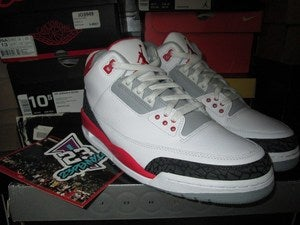 Image of Air Jordan III (3) Retro &quot;Fire Red&quot; 2007 
