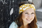 Image of Turban Headband in Mustard Chevron