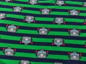 Image of Robots on Navy/Green Stripes (Stretchy Knit Jersey)
