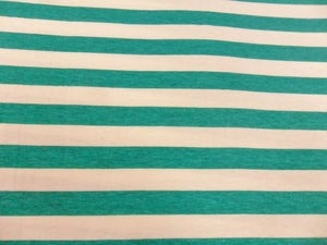 Image of Emerald & Ivory 1/2 Inch Stripes on Cotton-Lycra Jersey