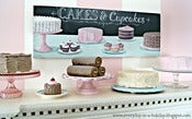 "Image of ""Cakes & Cupcakes""  Chalk Art inspired still life SIGN"