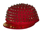 Image of Studded Spike Snapback Hat In Red