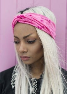 Image of Cute Girly Pink Butterfly and Floral Fabric Hair Turban Headband Turband Headband