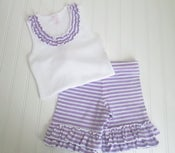 Image of Lilac-White Short Set