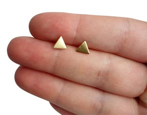 Image of Tiny Triangle Studs Brass