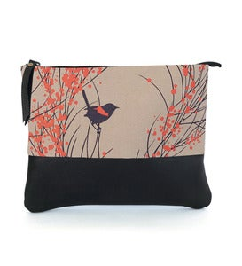 Image of LEATHER CLUTCH (with chain) Red-backed Wren & Wattle